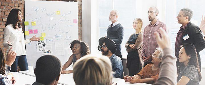 Team brainstorming different ways to serve their community