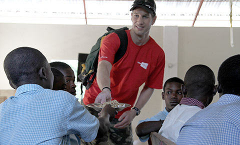 Sabre's John Hanson works with children as part  of his work with Feed the Hunger.
