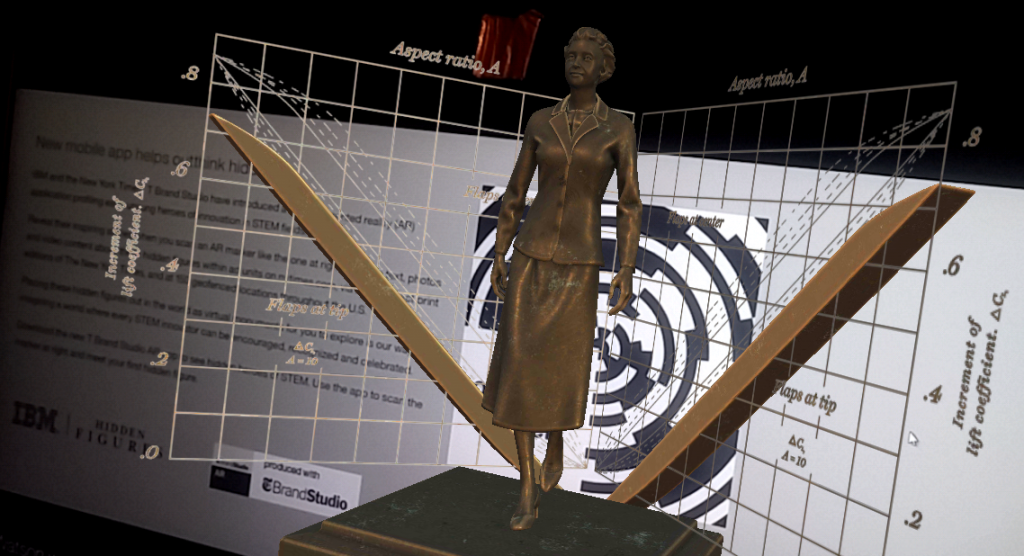 """Hidden Figures"" in the New York Times T Brand AR App creates a floating statue of Irmgard Flügge-Lotz, a mathematician specializing in aerodynamics and the first female professor of engineering at Stanford University."