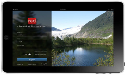 Sign-in page for Sabre Red Mobile Workspace, Sabre's new mobile app for travel agents.
