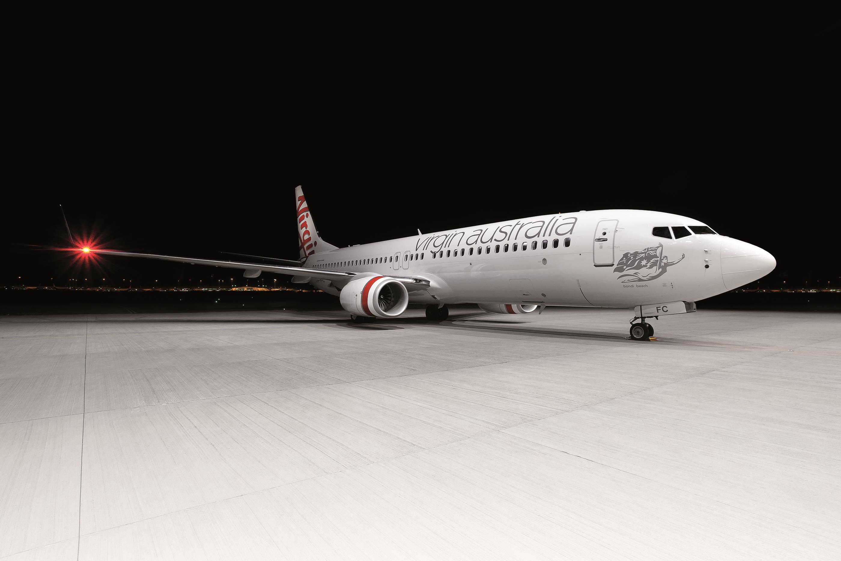 Virgin Aust Plane Nighttime