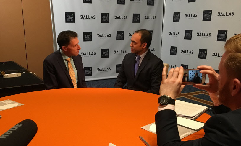 """Sabre employee and founder of NGO """"A World Without Hate,"""" Rais Bhuiyan (right) in an interview with Travel Weekly's Arnie Weissman at the WTTC Summit Dallas 2016."""