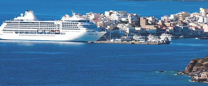 Large cruise ship stopped at exotic port