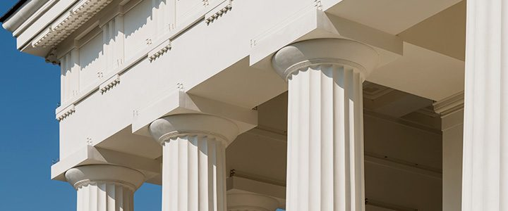 White traditional ornate columns on a government building