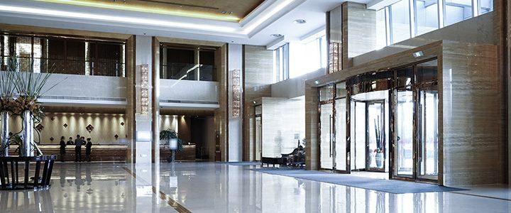 Prestigious hotel entrance and lobby