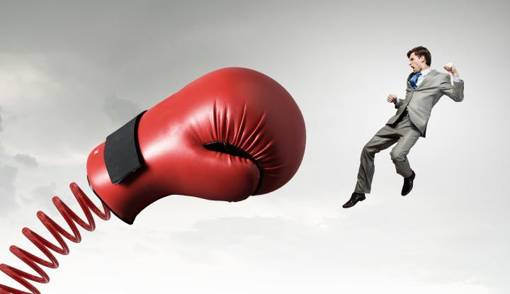 boxing glove biz man flying